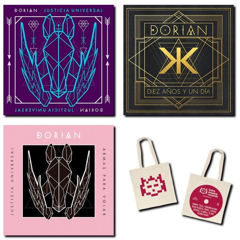 Dorian - Pack de oferta con Justicia universal (vinilo + single), Diez años y un día y bolsa de Intromúsica de regalo
